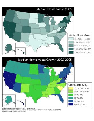Affordable housing - Image: Median home value 2005