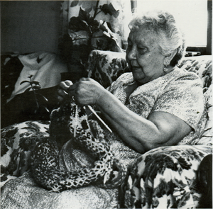Cowichan knitting - Cowichan knitter Mabel Modeste working on a sweater. Koksilah Reserve, 1985.