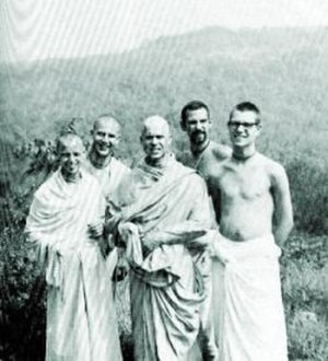 Kirtanananda Swami - Kirtanananda, Vamanadev, Hrishikesh, Hayagriva and Pradyumna, at New Vrindaban (late summer, 1968)