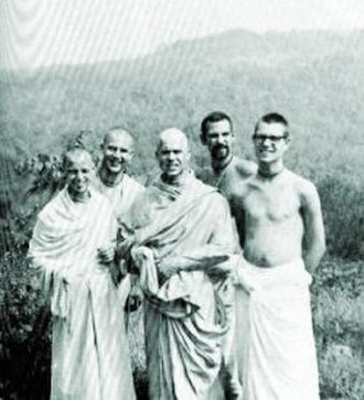Kirtanananda Swami - Kirtanananda, Vamanadev, Hrishikesh, Hayagriva and Pradyumna, at New Vrindaban (late summer, 1968)