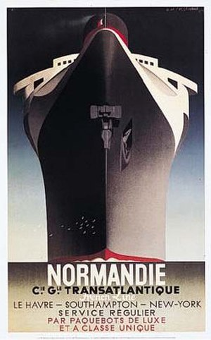 SS Normandie - Adolphe Cassandre's famed 1935 depiction of the SS Normandie.
