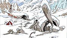 A comic-strip panel of an aeroplane crashed in a mountainous area, covered in snow