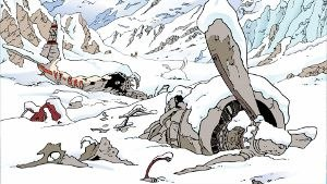 Tintin in Tibet - Panel from Tintin in Tibet, depicting the plane wreckage. When Air India objected to having their plane pictured in a crash, Hergé changed the logo to the fictional Sari-Airways.