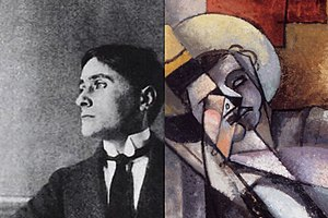Man in a Hammock - Left: Photograph of Jean Metzinger circa 1912. Right: Man in a Hammock by Albert Gleizes, 1913, detail