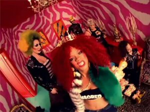 "S&M (song) - Rihanna, in a scene from the video. The ""pink room"" scene was the subject of a US copyright infringement case"