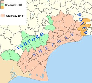 Shepway - Map showing Shepway in 1900 compared with Shepway in 1974, with the parishes now in Dover and Ashford Districts so indicated