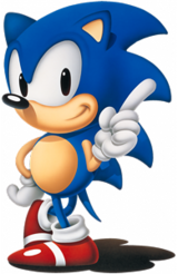 A blue anthropomorphic hedgehog wearing red shoes