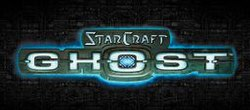 "The word ""StarCraft"" is written in an angular, futuristic font on a mechanical background, with the word ""GHOST"" written in a bigger typeface below."