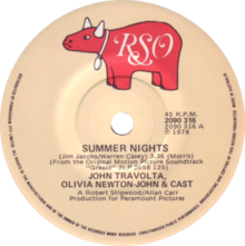 Summer Nights by John Travolta, Olivia Newton-John, and cast Australian vinyl Side-A.png