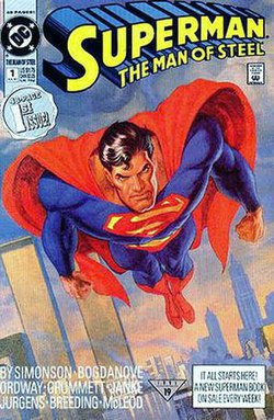 Superman The Man Of Steel 1 July 1991 Cover Art By Jon Bogdanove