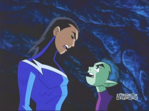 "Garth (comics) - Aqualad as featured in the Teen Titans' animated series with Beast Boy in the episode ""Deep Six""."