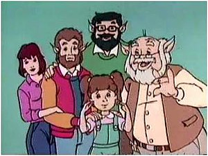 Teen Wolf (1986 TV series) - From left to right: Boof, Scott, Harold (above), Lupe (below) and Grandpa Howard.