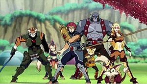 ThunderCats (2011 TV series) - The ThunderCats. From left to right: Tygra, WilyKit, Lion-O, WilyKat (foreground), Panthro (background), Snarf (foreground), Cheetara (background).
