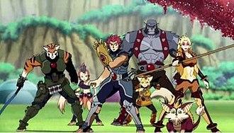 ThunderCats (2011 TV series) - The ThunderCats. From left to right: Tygra, WilyKit, Lion-O, WilyKat (foreground), Panthro (background), Snarf (foreground), Cheetara (background).