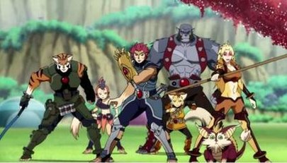 The ThunderCats. From left to right: Tygra, WilyKit, Lion-O, WilyKat (foreground), Panthro (background), Snarf (foreground), Cheetara (background). TheThunderCats2011.jpg