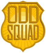 "A yellow badge shape with a starburst coming from its center, emblazoned with the words ""Odd Squad"""