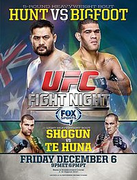 A poster or logo for UFC Fight Night: Hunt vs. Bigfoot.