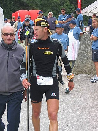 Ultra-Trail du Mont-Blanc - Vincent Delebarre at Champex during the UTMB 2005