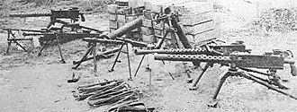 Viet Cong and Vietnam People's Army logistics and equipment - Captured VC weaponry, including M1919 Browning machine guns, World War II-era German MG-34 machine guns, and mortars.