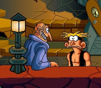The Bizarre Adventures of Woodruff and the Schnibble - Woodruff (right) chats with a local