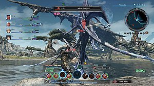 Xenoblade Chronicles X - Xenoblade Chronicles X has the player-created avatar exploring Mira and having to fight its indigenous life; the battle system relies on command-based actions which trigger both attack types and battle interactions with the rest of the player's party.