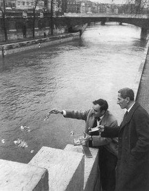 Yves Klein and Dino Buzzati engaged in the rit...