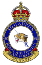 "Royal Australian Air Force crest depicting a jaguar's head couped, pierced by a rapier in hand; the jaguar's head symbolises 'death and destruction wrought by the enemy'; the rapier symbolises 'offensive action taken by the squadron'; the motto beneath reads ""Harass"" based on the squadron's nickname 'The Desert Harassers'"