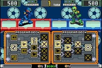 Mega Man Battle Chip Challenge - The Program Deck grid determines which chips are used each turn.