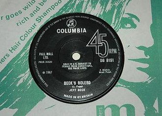 "Beck's Bolero - Later Columbia single pressing with ""J. Page"" composer credit"