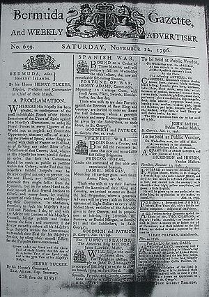 Commerce raiding - Bermuda Gazette of 12 November 1796, calling for privateering against Spain and its allies, and with advertisements for crew for two privateer vessels.