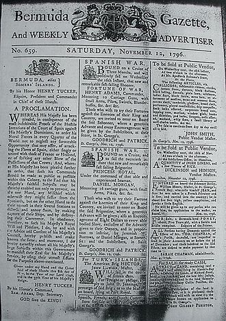 Privateer - Bermuda Gazette of 12 November 1796, calling for privateering against Spain and its allies during the 1796 to 1808 Anglo-Spanish War, and with advertisements for crew for two privateer vessels.