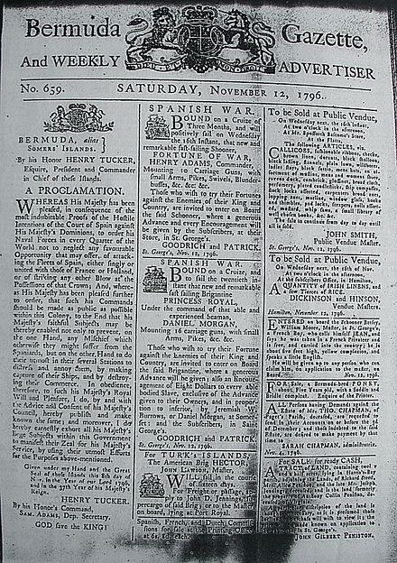 Bermuda Gazette of 12 November 1796, calling for privateering against Spain and its allies; it has advertisements for crew for two privateer vessels. Bermuda Gazette - 12 November 1796.jpg