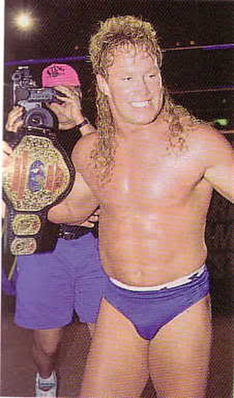 Brad Armstrong (wrestler) - Brad Armstrong after winning the WCW Light Heavyweight Championship from Scotty Flamingo at The Omni in Atlanta, Georgia on July 5, 1992.