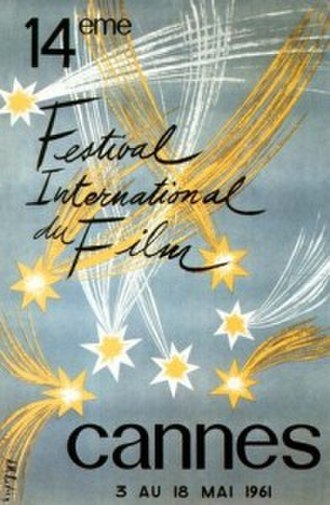 1961 Cannes Film Festival - Official poster of the 14th Cannes Film Festival, an original illustration by A.M. Rodicq.