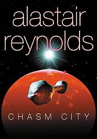 A book cover showing a starscape, featuring a dumbbell-shaped starship heading towards a large red planet