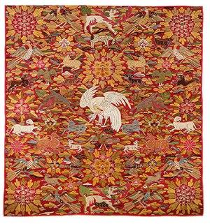 History of Peru - Colonial tapestry, late 17th or early 18th century. It was woven by indigenous weavers for a Spanish client, incorporating then-fashionable Chinese imagery.