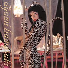 "Ayumi Hamasaki with black hair wearing a leopard print outfit that includes a long tail. In lowercase, ""ayumi hamasaki"" is written vertically on the left edge."