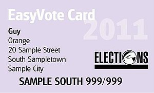 Elections in New Zealand - Sample of an EasyVote card