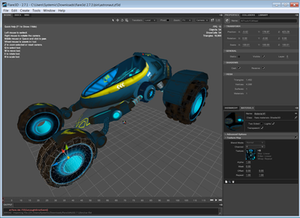 Flare3D IDE with viewport (center), object properties (top right), and texture panel