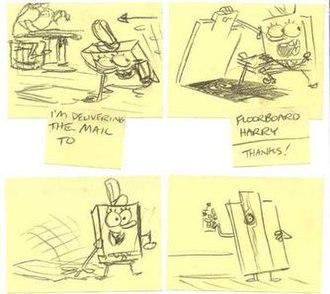 Graveyard Shift (SpongeBob SquarePants) - Original sketch of a deleted scene by Jay Lender, in which SpongeBob is delivering mail to Floorboard Harry.