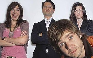 The Sunday Night Project - Original regular hosts Lucy Montgomery, Jimmy Carr, Sharon Horgan and Rob Rouse