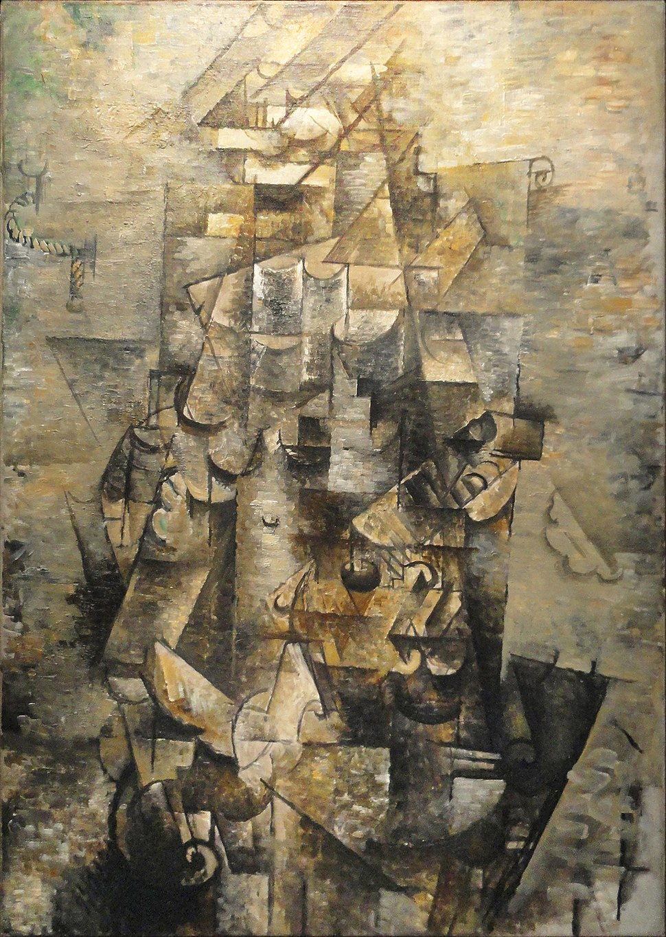 Georges Braque, 1911-12, Man with a Guitar (Figure, L'homme à la guitare), oil on canvas, 116.2 x 80.9 cm (45.75 x 31.9 in), Museum of Modern Art, New York