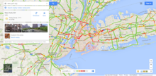 Screenshot of Google Maps with traffic option enabled