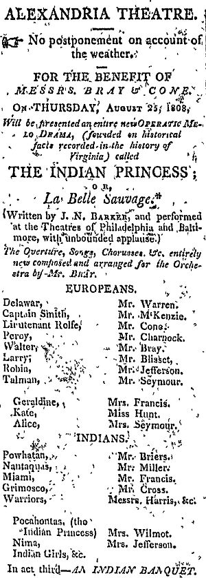 The Indian Princess (play) - Advertisement for the 1808 Alexandria production