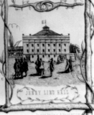 """Winter Garden Theatre (1850) - The so-called """"Jenny Lind Hall"""", detail from a poster of 1850 before the concert hall was finished."""