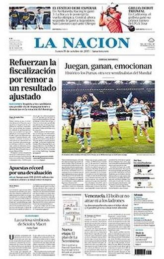 La Nación - Front page of La Nación from 19 October 2015