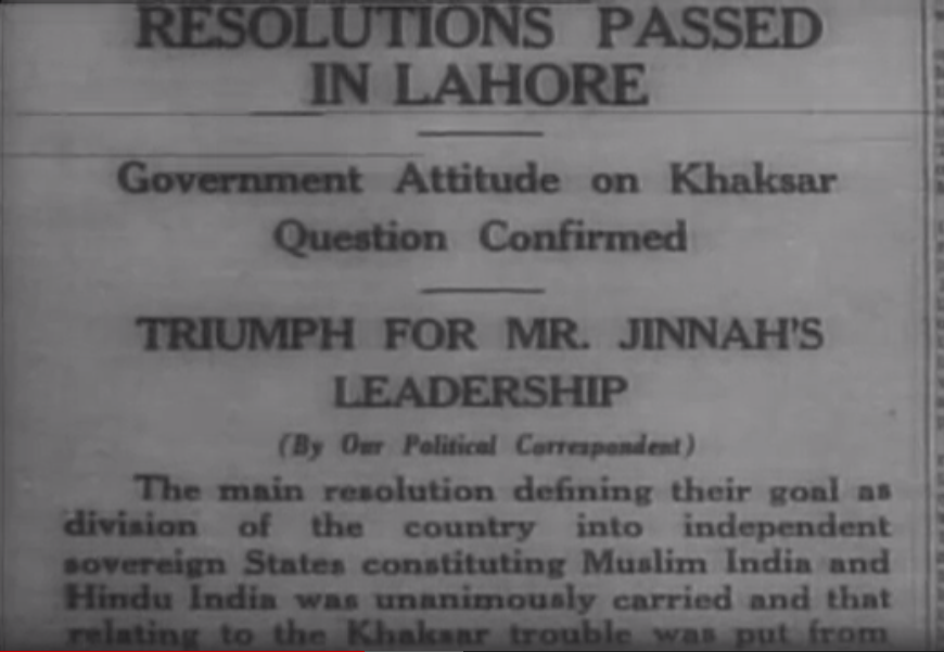 Lahore Resolution News BurhanAhmed