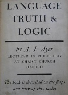 <i>Language, Truth, and Logic</i> 1936 book by A. J. Ayer