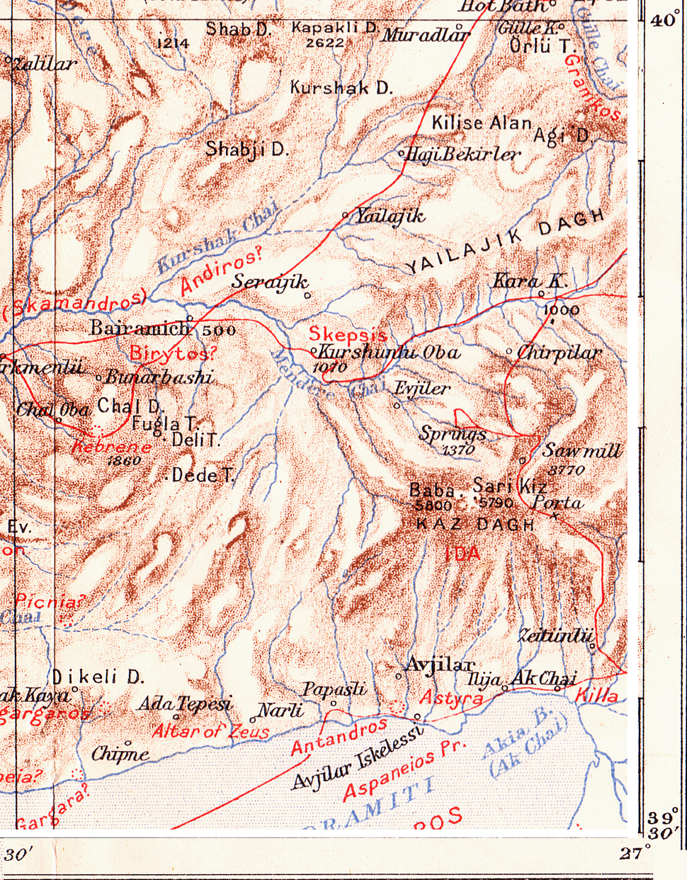 Location of Skepsis, map excerpt from Leaf, Strabo on the Troad (1923)
