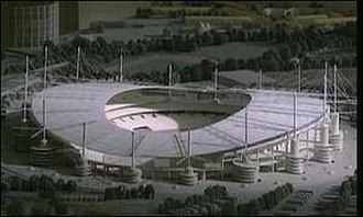 City of Manchester Stadium - Model of 80,000-seat stadium used in 2000 Olympic Bid. The proposed stadium was a larger design of CoMS, with more access ramps and masts.